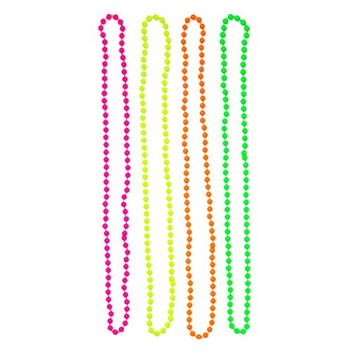 Set of 4 Multicolour Fluorescent 80's Bead Necklaces