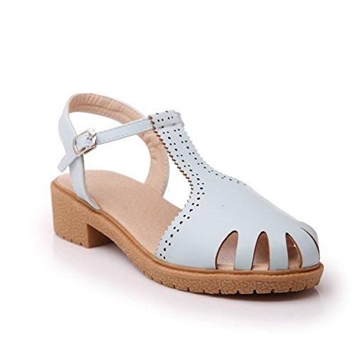Voguezone009 Pure Shimmer Femme Low Heel Boucle Fermé Toe Blue Sandales