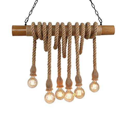 &Pendelleuchte Restaurant Industrieller Weinlese-hängender Leuchter, der natürliches Hanf-Seil-Bambus-Edison LED antike Retro- Loft-Insel-hängende Lampen-hängende helle Deckenbefestigung beleuchtet