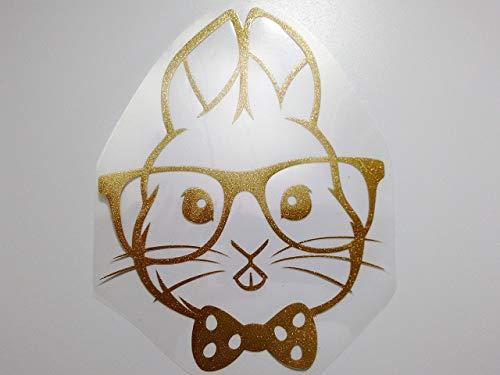 Bügelbild, Motiv: Hase mit Brille, Farbe: golglitzernd, Größe: 16x20,5cm, heißsiegelfähige Flexfolie