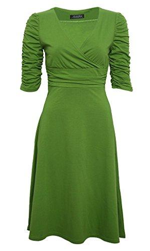 Bigood Robe d'Eté Femme Col V Profond Cocktail Soirée Robes Mi-longue Manche 3/4 Elégant Fruit Vert