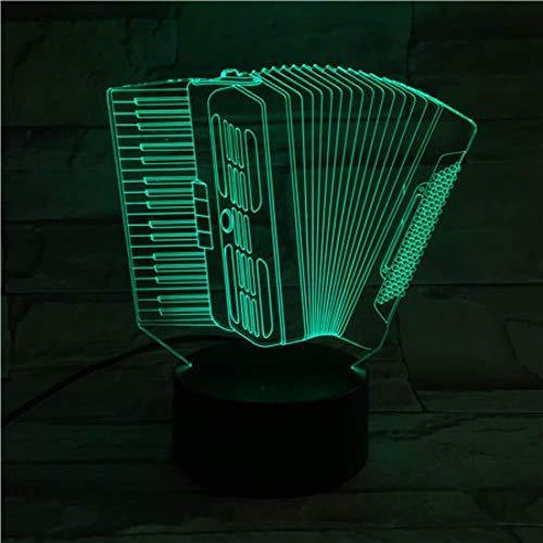North cool Nachtlicht Akkordeon USB 3D LED-Nachtlicht Multicolor RGB Junge Kind-Kind-Baby-Geschenke Musikinstrument Atmosphären-Lampe Nacht (Color : Multi-colored)
