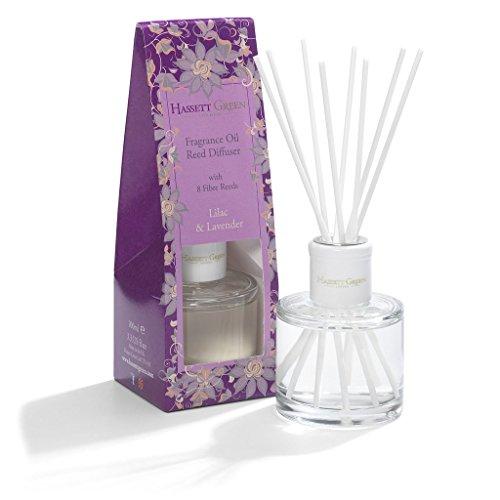 Hassett Grün Flieder Lavendel Duftöl Diffusor-Lange Home Innen Diffuser-Stilvoll Glas Flasche mit 8Fibre Blätter 100ml 3.3FL. oz von - Königreich Parfüm