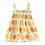 Vestido sin Mangas de niña,Vestidos de Princesa con Estampado de limón y Mangas sin Mangas para niños con Estampado Flores Falda Tallas Grandes Ropa de Bebe Verano