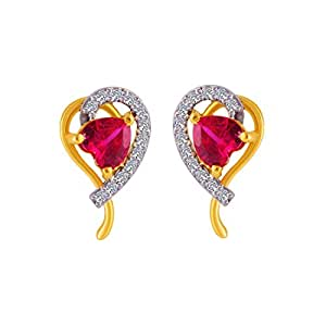 P.C. Chandra Jewellers 14KT Yellow Gold and American Diamond Stud Earrings for Women