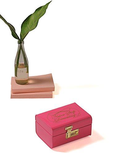ELAN Vintage Metal Storage Trunk, Decorative Box (Dreaming, Pink)