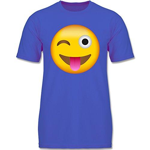- Emoji Herausgestreckte Zunge - 128 (7-8 Jahre) - Royalblau - F140K - Jungen T-Shirt (Gruppe Kostüme Für 8)