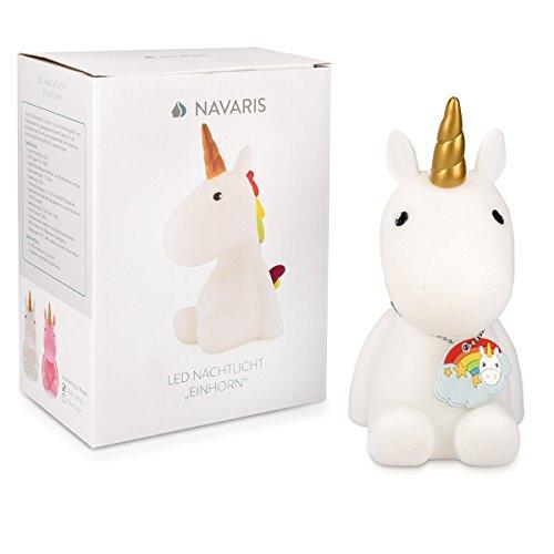 Navaris luce notturna LED unicorno – lampada per bambini lucina da notte per camera bambini con led multicolore cambio colori arcobaleno – bianca - 7