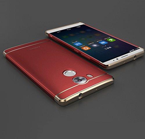 Huawei Mate 8 Hülle, DEMEDO (Plating Splicing Serie) PC Back Gehäuse mit Überzug, Kamera Objektivschutz, 360 ° Schutzhülle für Mate 8 (Rot)