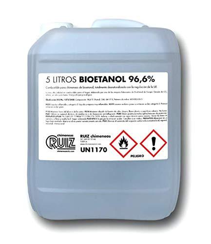 Bioetanol liquido 96.6º. 20 litros 4 garrafas 5 litros