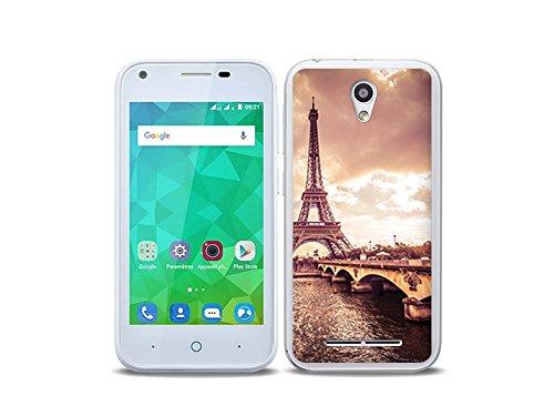 etuo Handyhülle für ZTE Blade L110 - Hülle Foto Case - Seine & Eiffelturm - Handyhülle Schutzhülle Etui Case Cover Tasche für Handy