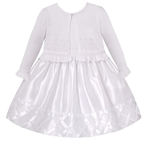 2b8c8a58e8d430 Traum Baby Mädchen Petticoatkleid inkl. Strickbolero in weiß ~Taufkleid~Set  Gr. 56