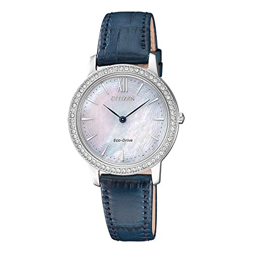 Citizen Damen Analog Quarz Uhr mit Leder Armband EX1480-15D