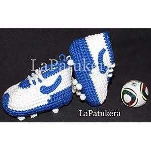 Fußball-Schuhe. Babyschuhe häkeln, Unisex. aus 100% Baumwolle, 4 Größen 0-12 Monate. handgefertigt in Spanien. Turnschuh gehäkelt gestrickt. Wählen Sie die Farben Ihres Lieblingsteams