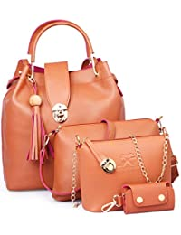 Speed X Fashion Combo Set Pu Leather Shoulder Bags For Women Tan Colour Set Of 4 (SRTY000GFR2)