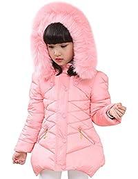LSERVER Abrigo de Invierno Acolchado para Niñas Princesas Chaqueta de algodón Dulce con Capucha Cintura Ajustable
