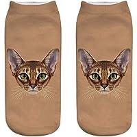 OHlive Suave Zapatillas de Deporte Impresas 3D del Gato de Las Mujeres Calcetines del Tobillo (1 par-MM05-One Size) (Color : MM05, tamaño : Talla única)