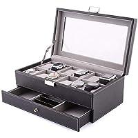 amzdeal 12 Présentoir/Coffret/Boîte à Montre Coffret en Cuir PU Boîte Bijoux Cadeau pour Homme Deux Couches (12 Compartiments - Noir)