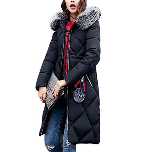 iBaste Wintermantel Damen Lang Parka mit Fellkapuze Steppmantel verdickte Winterjacke Daunenmantel für damen Parka-BK-3XL