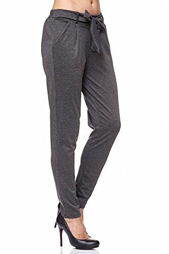 JillyMode -  Pantaloni  - Basic - Donna A1216-DK.Grau
