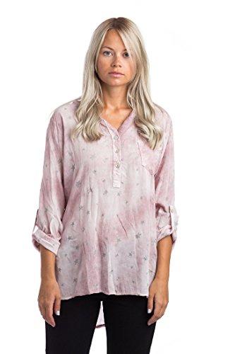 Abbino 68012 Damen Shirt Bluse Top - Made in Italy - Viele Farben - Langarm Hüftlang Y-Ausschnitt Viskose Flamingos Sommer Herbst Damenshirt Damenbluse Damentop Lässig Regular Fit Sexy Freizeit Rosa (Art. 68012B2)