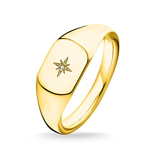 THOMAS SABO Damen Ring Vintage Stern Gold 925er Sterlingsilber; 750er Gelbgold Vergoldung D_TR0038-924-14