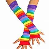 Tinksky Regenbogen-Streifen Arm-Wärmer Bunte Fingerlose Handschuhe Hülse für Frauen Mädchen Karneval Party Stützen