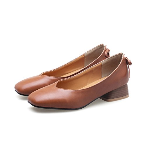 RFF-Frühlings-, Sommer- und Herbstschuhe Damen Pumps/Geschlossene Ballerinas/Riemchenpumps/Bow Tie Women's Shoes in The Spring with Heavy and Light-Solid Color Low Shoes with,Brown,32 Bow Tie Solid Light