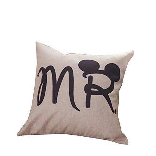 ODN Mr.Baumwolle Leinen Dekorative Cartoon Paar Liebhaber Maus Throw Pillow Kissen Fall Deckung Home Kissenbezug (Kissenbezug Throw Pillow Dekorative)