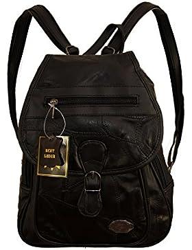 Damen Leder Tasche schwarz Cityrucksack Mini Rucksack Schultertasche Umhangtasche Handtasche kleiner Lederrucksack...