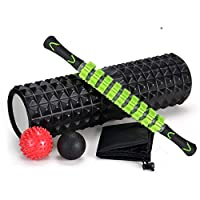5-In-1 Large size Foam Roller Kit with Muscle Roller Stick and Massage Balls For Physical Therapy Pain Relief Myofascial Release Balance Exercise