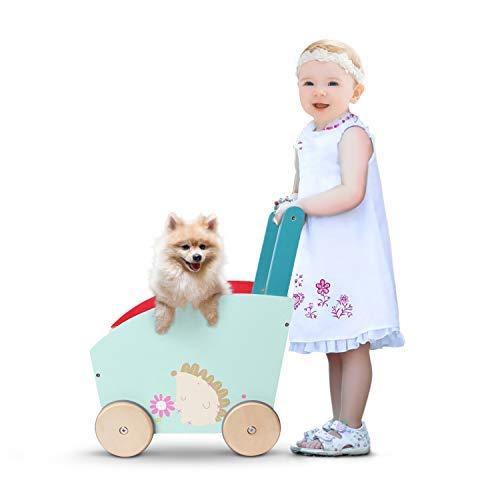 Labebe Chariot Enfant, 2-en-1 Utilisation comme Trotteur Enfant, Vert Hérisson Trotteur Bois pour 1 An et Plus, Chariot bois/trotteur pousseur bébé/chariot marche/trotteur pousseur bois