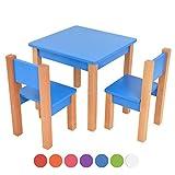 XXL Discount kindertisch mit stühle - 3 TLG. Set: Sitzgruppe für Kinder - aus Buche und MDF Holz - Tisch + 2 Stühle/Kindermöbel für Jungen & Mädchen Kindersitzgruppe (Blau, Kindertisch mit 2 stühle)