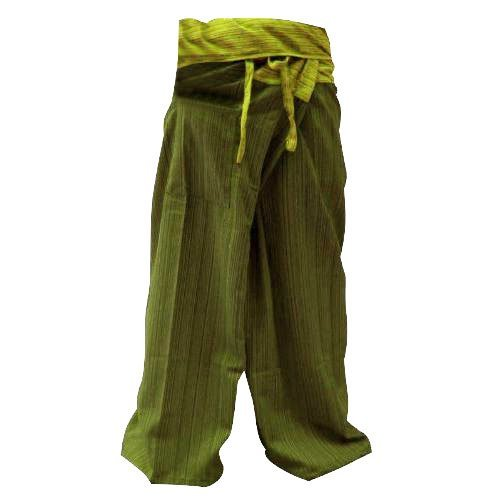 SUWARENE Zenza Fashion Frei Größe 2Farbe in Einer Baumwolle Streifen Thai Fisherman Hose Yoga Hosen gratis Größe Plus Größe Baumwolle Bohrer Oliv grün Streifen -