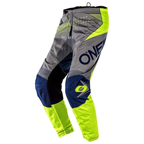 O'Neal Element Factor Bambini Moto Cross Pantaloni MX Mountain Bike Enduro Ragazzi Fuoristrada Sentiero MTB Fr, E010, Colore Grigio Neon, Taglia 18