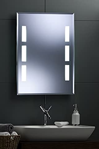 Modern Bathroom Wall Mirror - Illuminated Fluorescent Back Lit 80cm(H) X 60cm(W) with lights 335JY FREE DELIVERY / FREE RETURNS by Neue Design