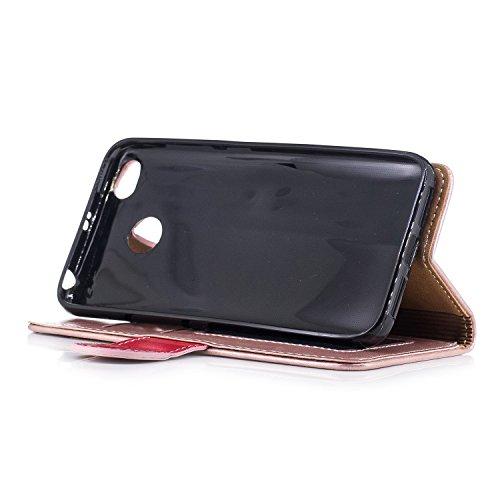 EKINHUI Case Cover Dual Farbe PU Leder Brieftasche Case Soft Silikon Rückentasche mit Detatchable Lanyard & Card Slots Für Xiaomi Hongmi Redmi 4x ( Color : Rose Gold ) Rose Gold