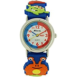 Ravel Cartoon Monsters 3D Watch with Time Teacher Dial Children's Quartz Watch with White Dial Analogue Display and Multicolour Plastic Strap R1513.60