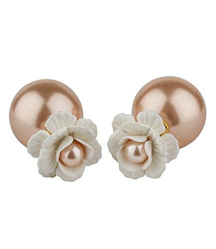 SIX Front-Back Ohrstecker: Doppel Perlen Ohrring mit Blumen-Motiv, kleiner Perlenstecker mit Blüten, großer Perlenstecker hinten, rosé, weiß (444-677)