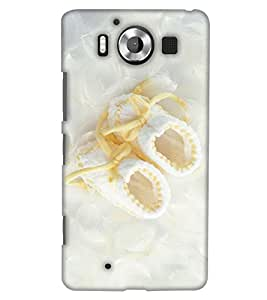 PrintHaat Designer Back Case Cover for Microsoft Lumia 950 :: Nokia Lumia 950 (Beautiful white cloth shoes on silk satin with yellow laces)