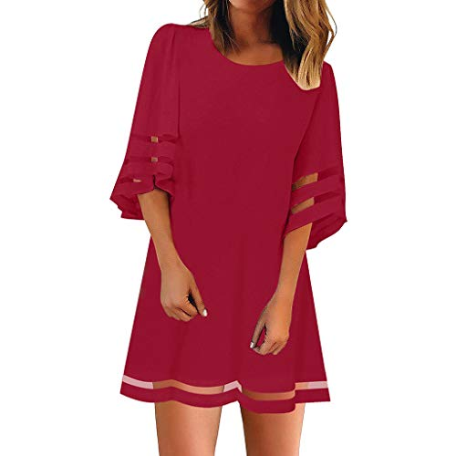 r Damen Liusdh O Neck Mesh Panel Bluse 3/4 Bell Ärmel Loose Top Shirt Kleid(Red,M) ()