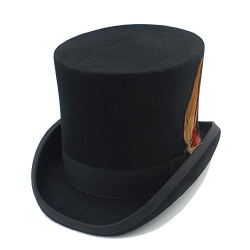 HHF Caps y Sombreos Sombrero de copa 100% lana para mujer Hombre Fedora Steampunk Sombrerero de belleza con pluma (Color : 1, Size : 59cm)