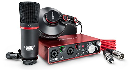 Focusrite Scarlett 2i2 Studio (2G) USB-Audio-Interface und Recording-Bundle mit Pro Tools, Rot