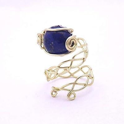 Bague lapis lazuli, tour de doigt ajustable, anneau cuivre tressé à la main