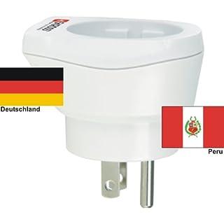 hochwertiger Design Reiseadapter Deutschland auf Peru 220-230V Schukostecker Umwandlungsstecker Reisestecker Netzstecker - Germany - Peru