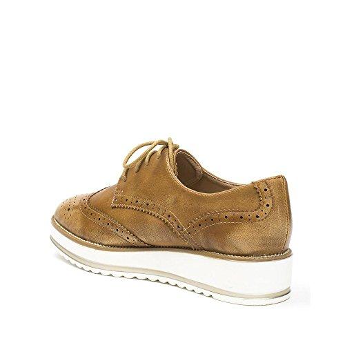 Ideal Shoes Derbies Effet Usé en Similicuir Baya Camel