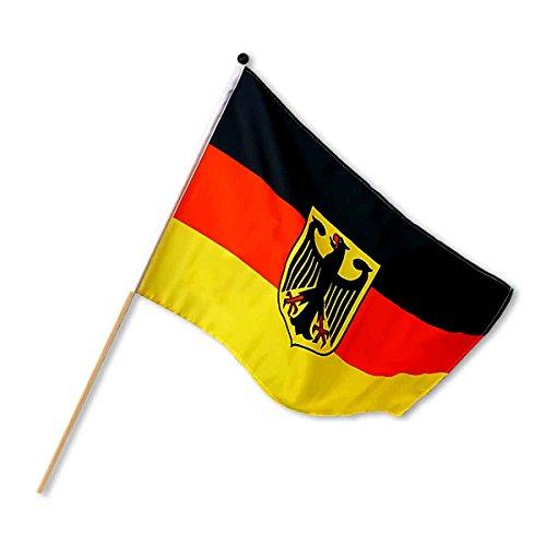 Preis am Stiel 4 x Stabfahne Deutschland 30 x 45 cm Adler | Fußball WM | Fahnen und Flaggen | Geschenk für Männer | Fahne Deutschland | Deutschlandfahne | Fanartikel Deutschland