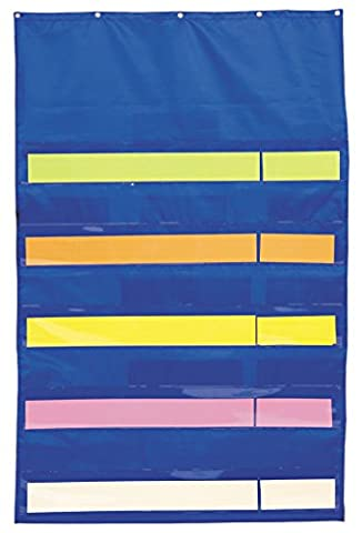 """Original """"Plus"""" 10-Pocket Chart with Five Clear Sentence Strips, Blue, 34 x 52"""