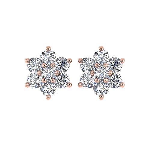 Delight femmes de diamant 14K Boucles d'oreille Clous en forme de fleur (i3, 1/2carat)