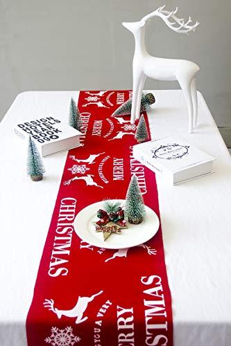 huangliao Tischläufer für Weihnachten, 274 x 27,9 cm, Baumwollleinen, Rentier-Schneeflocken-Design, Tischwäsche für Weihnachten, Dinnerpartys, Jahreszeiten, Dekorationen, Rot